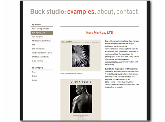 Interactive copywriting example for Paula Minahan's client Buck Studio