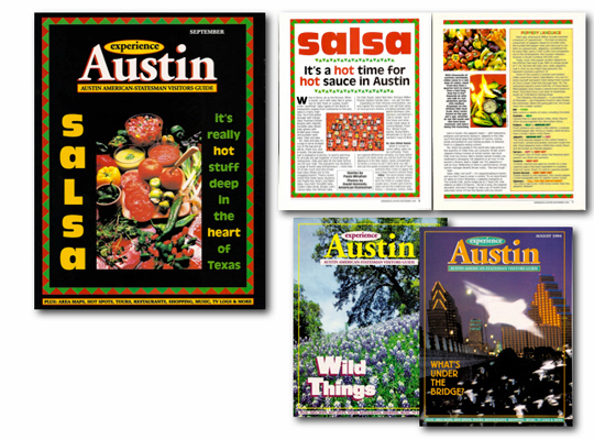 Covers and feature story pages from Experience Austin magazine demonstrate Paula Minahan's talent as an editor, creative director and feature writer for client Austin American-Statesman